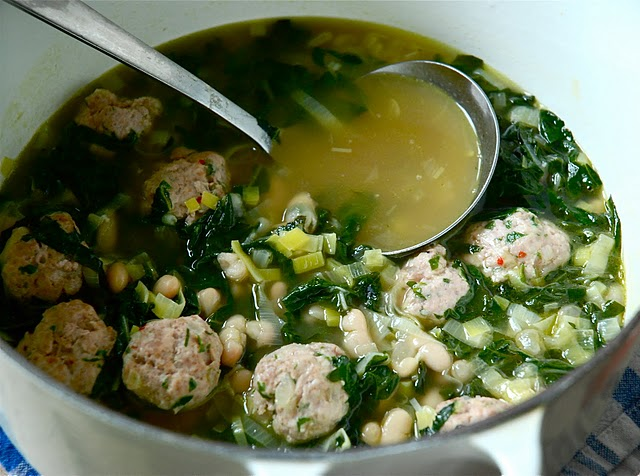 White Bean and Swiss Chard Soup with Spiced Turkey Meatballs | Kitchen ...