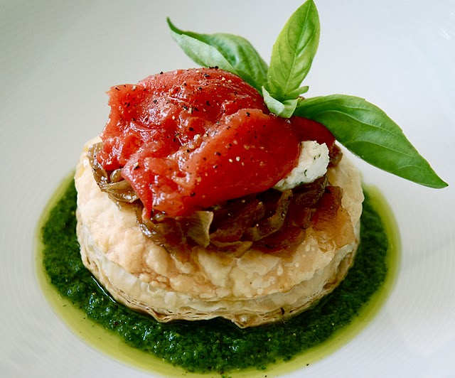 Onion Tarts with Tomato Confit, Goat Cheese and Pesto | Kitchen ...