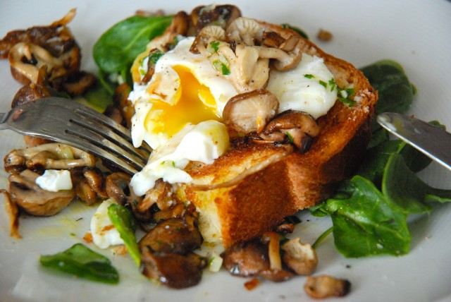 Poached Eggs on Toasted Brioche with Garlicky Mushrooms | Kitchen ...