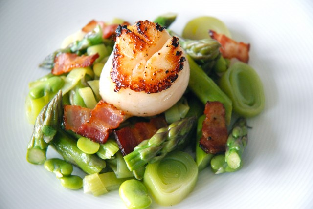 Seared Scallops with Fava Beans, Asparagus and Leeks | Kitchen ...