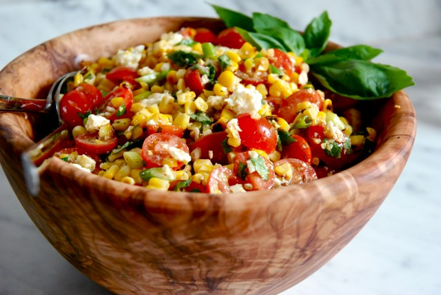 Fire Roasted Corn Salad with Feta and Tomatoes Kitchen Culinaire