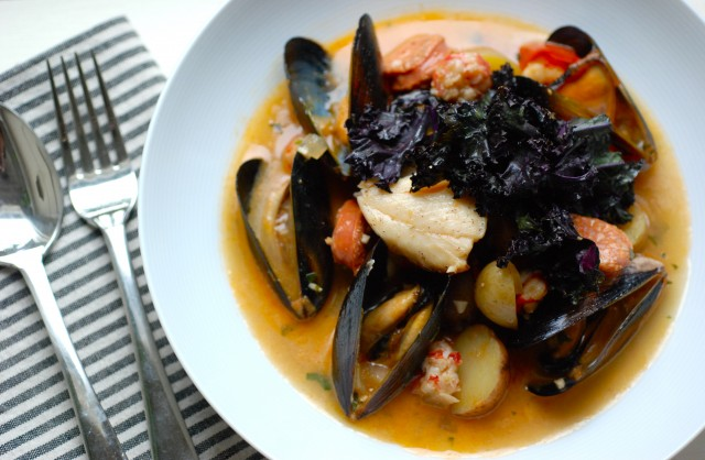 Portuguese seafood stew with sablefish and purple kale for Portuguese fish stew