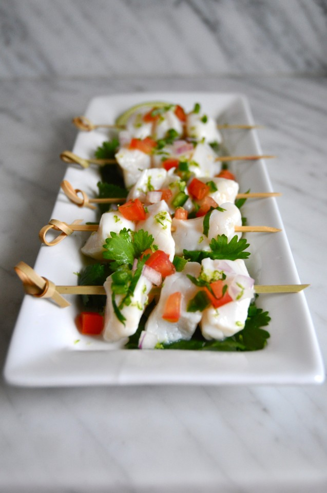 Skewers of scallop ceviche