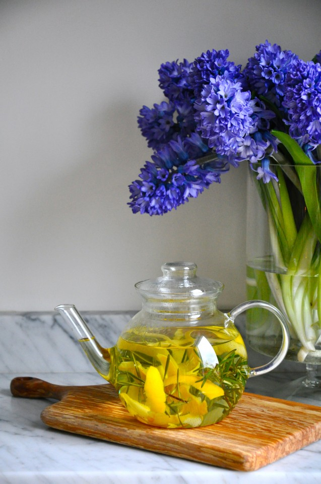 Meyer lemon peel and rosemary tisane
