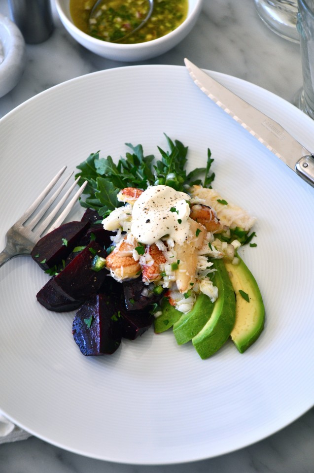 Crab salad with avocado, roasted beets, crème fraîche and lime