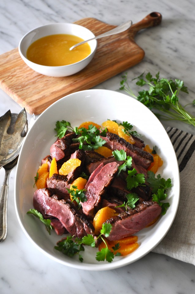 Duck breast with orange sauce and a orange and parsley salad