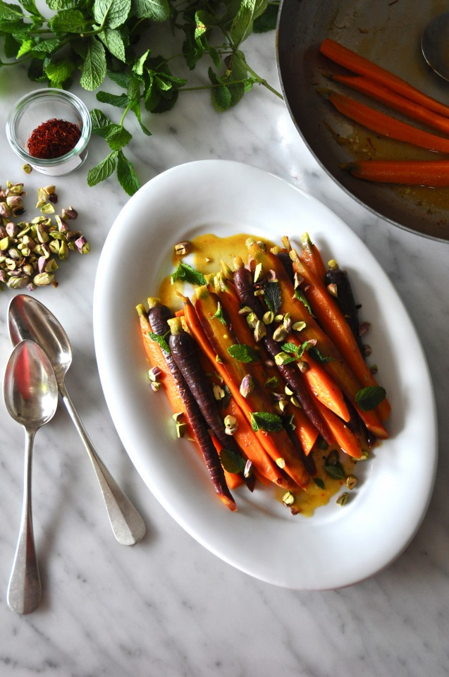 Glazed carrots with saffron, pistachios and mint