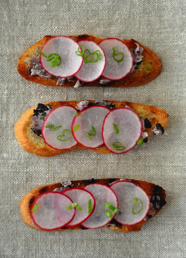 Radish Tartines with black olive butter